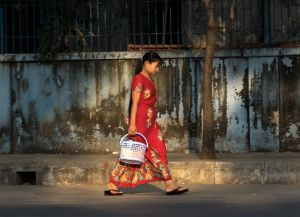 Lady in Red, Yangon, Myanmar